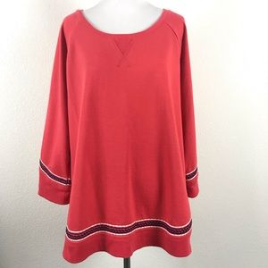 Lucky Brand Lotus Fleece Swing Top Embroidered XL